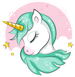 Cute Unicorn with Green Mane Sticker
