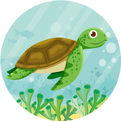 Cute Vector Sea Turtle.