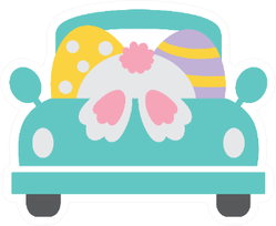 Cute Vintage Truck With Easter Bunny And Easter Eggs Sticker
