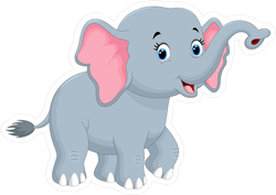 Cute Walking Elephant Cartoon Sticker