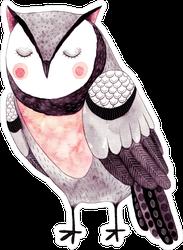 Cute Watercolor Owl Illustration Sticker