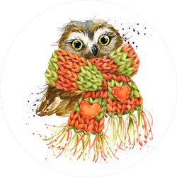 Cute Watercolor Snowy Owl Wearing A Scarf Sticker