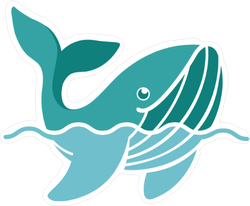 Cute Whale above Water Sticker