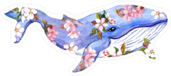 Cute Whale In Flowers Sticker
