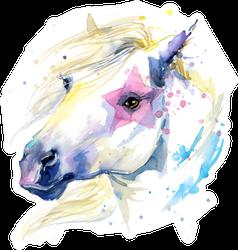 Cute White Horse Watercolor Illustration Sticker