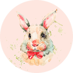 Cute White Rabbit With Red Bow Sticker