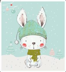 Cute White Winter Bunny Sticker