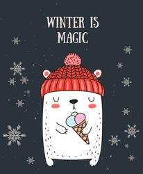 Cute Winter Bear Sticker