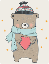Cute Winter Teddy Bear With Heart Sticker
