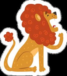 Cute Yawning Cartoon Lion Sticker