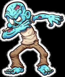 Dabbing Cartoon Zombie Sticker