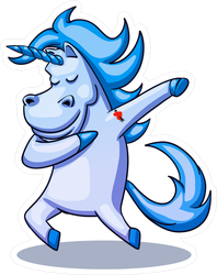 Dabbing Unicorn Meme Sticker