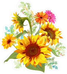 Daisy and Sunflower Bouquet Sticker