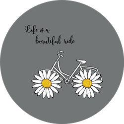Daisy Bicycle Life Is A Beautiful Ride Grey Sticker