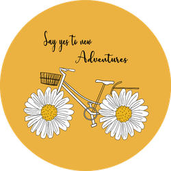 Daisy Bicycle Say Yes To New Adventures Yellow Sticker