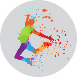 Dancing Boy With Colorful Spots And Splashes Sticker
