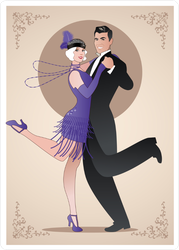 Dancing Charleston Couple Sticker