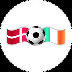 Danish And Irish Flags With Football Ball Sticker