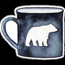 Dark Black Mug With Walking Alaskan Bear Silhouette Sticker