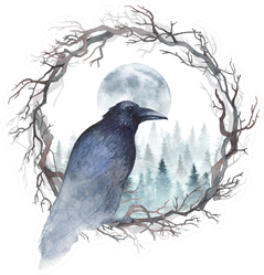 Dark Crow Sitting In A Wreath Of Bare Branches Watercolor Sticker