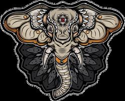 Dark Elephant Mandala Sticker