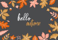 Dark Hello Autumn With Fall Leaves Sticker