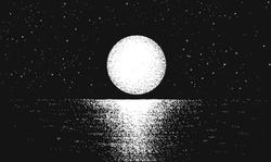 Dark Moon on the Ocean Illustration Sticker