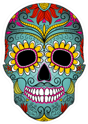 Day Of The Dead Skull With Floral Ornament Sticker