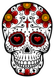 Day Of The Dead Skull with Heart Eyes Sticker