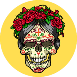 Day of the Dead Skull With Roses Circle Sticker