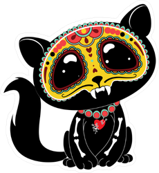 Day Of The Dead Small Black Cat Sticker