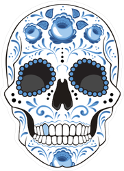 Day Of The Dead Sugar Skull With Blue Flowers And Curls Sticker
