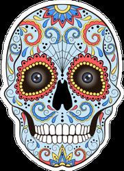 Day Of The Dead Sugar Skull With Vivid Ornaments Sticker