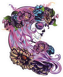 Day Of The Dead with Purple Hair Sticker