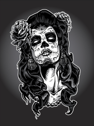 Day Of The Dead Woman With Sugar Skull Face Paint Sticker