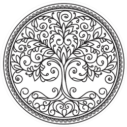 Decor Mandala Tree With Leaves In A Circle Sticker