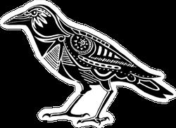 Decorated Black Raven Silhouette Sticker