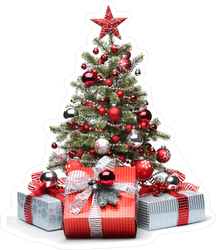 Decorated Christmas Tree And Gifts Sticker