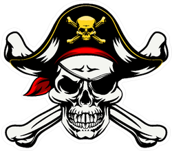 Decorated Jolly Roger Pirate Sticker