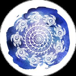 Decorated Turtles Circle Sticker