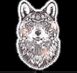 Decorated Wolf Head Sticker