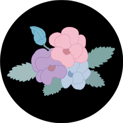 Decorative Abstract Pansy Flowers Design On Black Sticker
