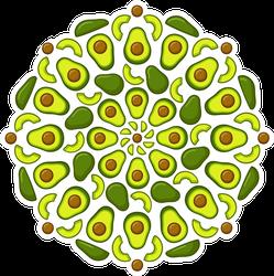 Decorative Avocado Mandala Sticker