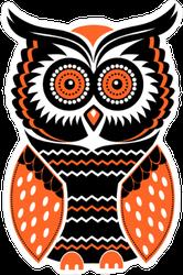 Decorative Black and Orange Owl Sticker