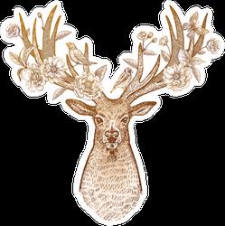 Decorative Floral Antlers Deer Sticker
