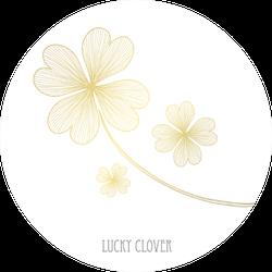 Decorative Four Leaf Clovers In White Sticker