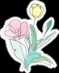 Decorative Hand Drawn Tulip Flowers In Pastel Sticker