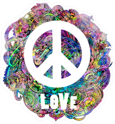 Love And Peace Hippie Sign Men/'s Tee Image by Shutterstock