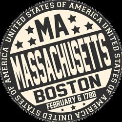 Decorative Massachusetts Circle Sticker
