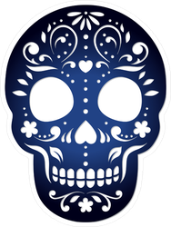 Decorative Ornamental Sugar Skull Silhouette Sticker